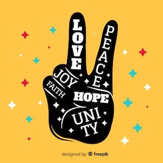 Paillettes à la main fond signe de paix