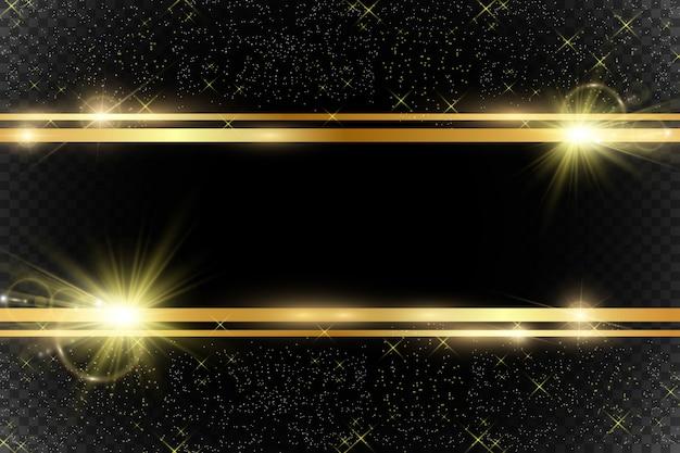 Paillettes d'or avec cadre doré brillant sur fond noir transparent.