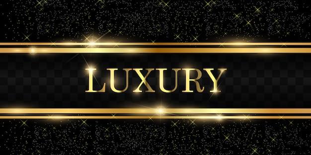 Paillettes d'or avec cadre en or brillant sur fond noir transparent. fond doré de luxe.