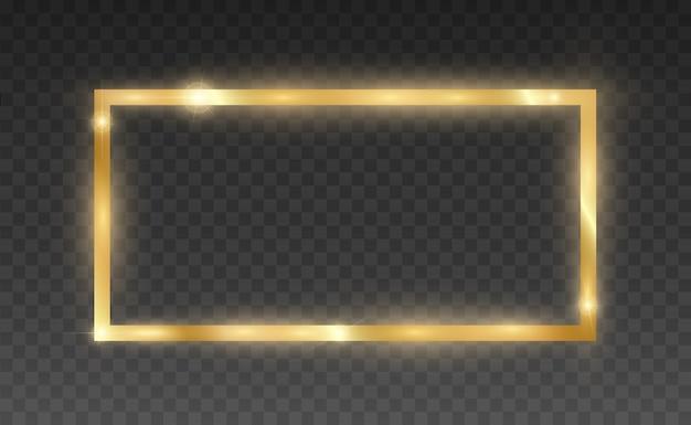 Paillettes d'or avec cadre en or brillant sur fond noir transparent.