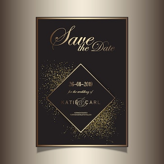Paillettes d'or enregistrer la conception invitation de date