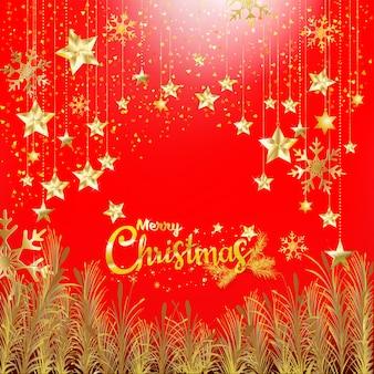 Paillettes d'or de luxe joyeux noël et bonne année avec un fond rouge pour invitation