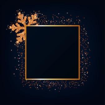 Paillettes d'or de noël, fond de flocon de neige.