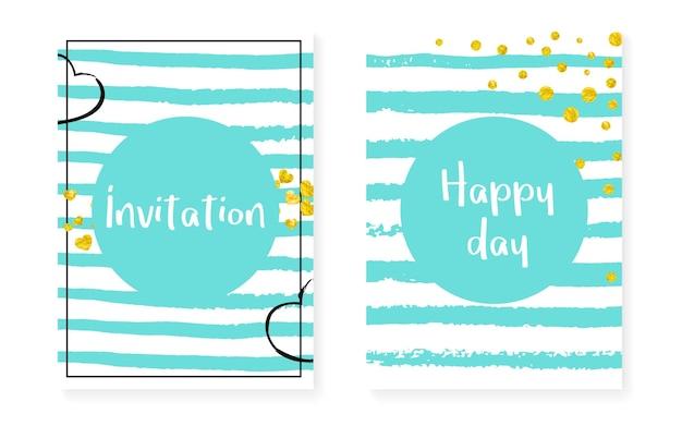 Paillettes pailletées dorées à pois. cartes d'invitation de mariage et de douche nuptiale sertie de confettis. fond de rayures turquoises verticales. paillettes de paillettes d'or créatives pour la fête, l'événement, le prospectus de date