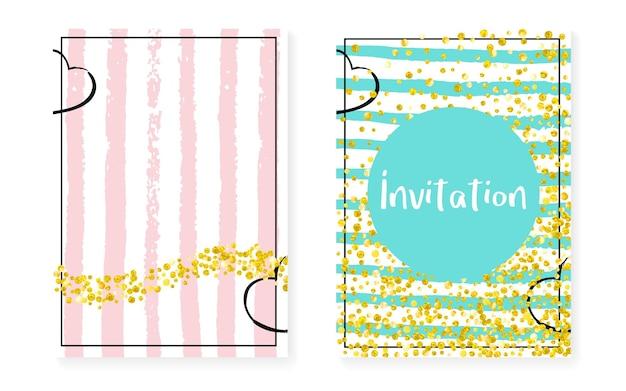 Paillettes pailletées dorées à pois. cartes d'invitation de mariage et de douche nuptiale sertie de confettis. fond de rayures verticales. paillettes de paillettes d'or rétro pour fête, événement, réservez le flyer de date.