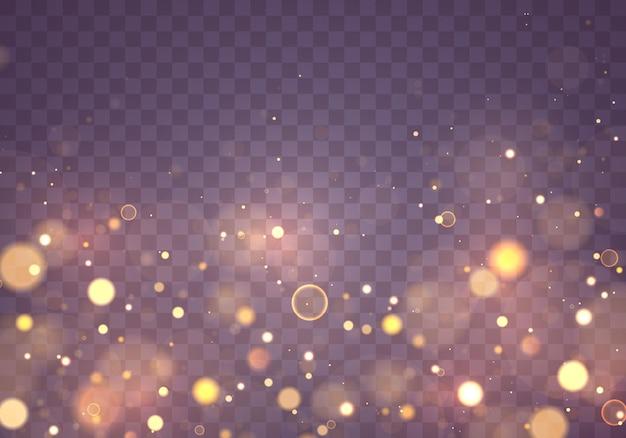 Paillettes de texture et élégantes pour noël particules de poussière jaune or magique étincelant concept magique fond transparent abstrait avec effet bokeh
