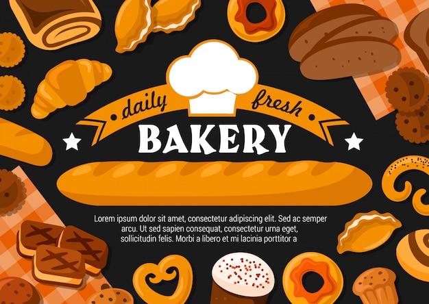 Pain, baguette, gâteaux et beignet avec chapeau de boulanger