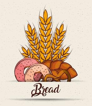 Pain beignets bretzel pâtisserie affiche de blé