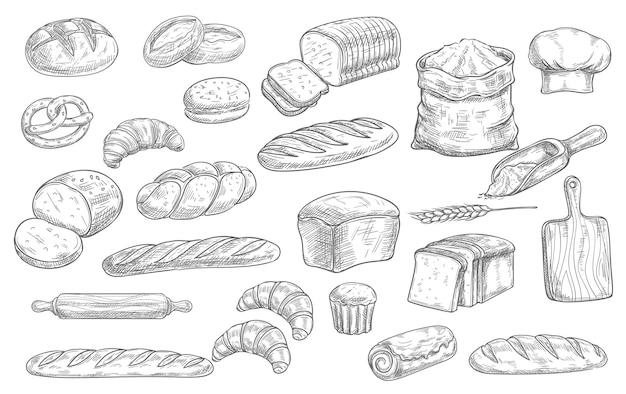 Pain et boulangerie icônes de croquis de nourriture pain cuit au four, pain de seigle et de blé, croissants et bretzel. petits pains tressés