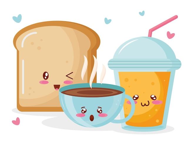 Pain avec café et jus de fruits personnages kawaii