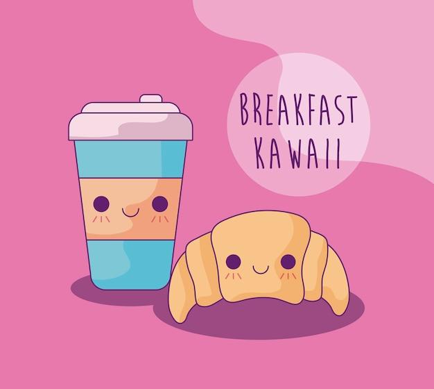 Pain croissant avec boisson pour le petit-déjeuner style kawaii
