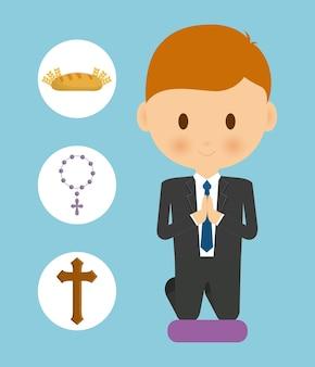 Pain, croix, chapelet, garçon, enfant, dessin animé, icône