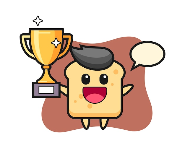 Le pain de dessin animé est heureux de brandir le trophée d'or