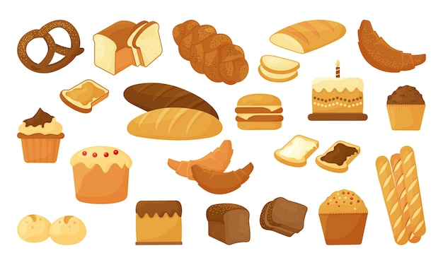 Pain de dessin animé, produit de pâtisserie de boulangerie isolé
