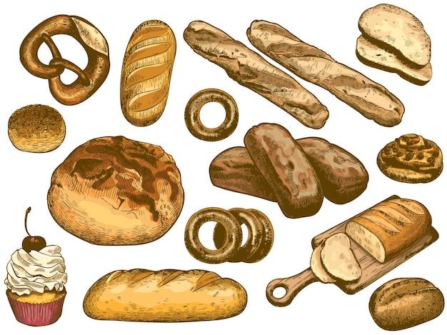 Pain dessiné à la main de couleur. pain français, beignet de boulangerie frais, pain au sésame et ensemble d'illustrations de bretzel.