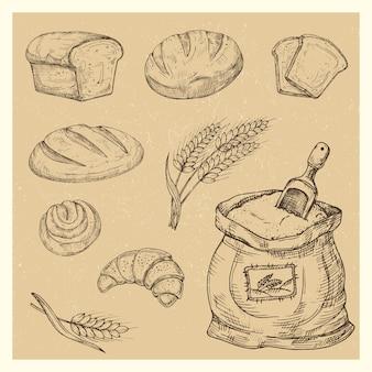 Pain dessiné à la main, petits pains, croissant, set de repas