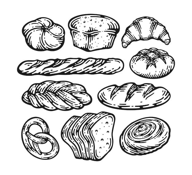 Pain doodle vintage set illustration. pain frais. collection gravée de boulangerie alimentaire au gluten.