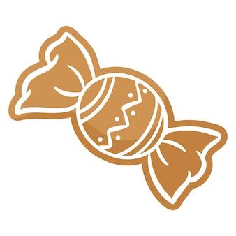 Pain d'épice de bonbons festif de noël recouvert de glaçage blanc. joyeux noël et bonne année concept.