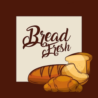 Pain frais tranches de pain grillé croissant boulangerie affiche
