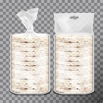 Pain grillé au blé, au riz ou au maïs dans un emballage en plastique transparent ou en film cellophane.