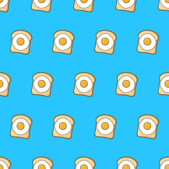 Pain grillé avec motif sans couture d'oeufs sur un fond bleu. illustration vectorielle de thème alimentaire
