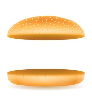 Pain à hamburger frais et croustillant sur blanc