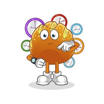 Le pain avec la mascotte de dessin animé de montre-bracelet. mascotte de dessin animé