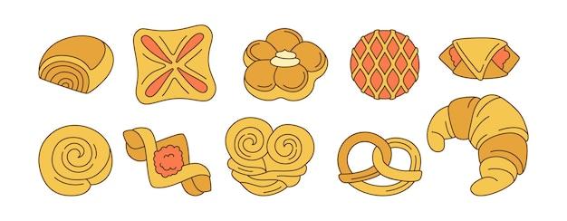 Pains sucrés doodle jeu d'icônes de dessin animé ligne design menu symbole de boulangerie, confiture puf