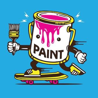 Paint bucket skater skateboard personnage