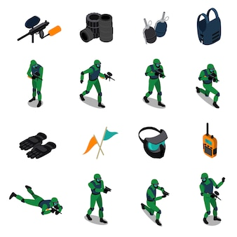 Paintball isometric icons set