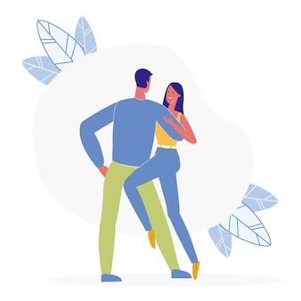 Pair dancing together flat illustration