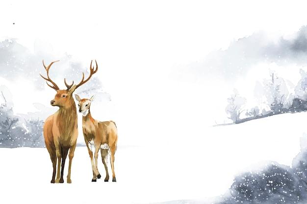 Paire de cerfs dessinés à la main dans un paysage d'hiver
