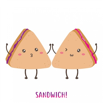 Paire de conception de vecteur mignon sandwich heureux