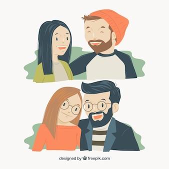 Paire de couples hipster sourire