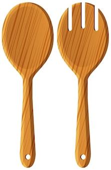 Paire de cuillère et fourchette en bois