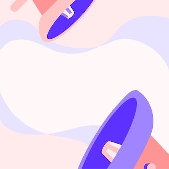 Paire de dessin de grand mégaphone faisant une nouvelle annonce merveilleuse dans un nuage de discussion. big bullhorns dessin produisant une publicité tardive incroyable avec de la fumée vierge.