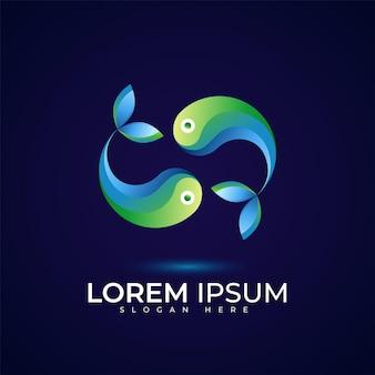 Une paire de logo poisson avec de beaux dégradés de couleurs