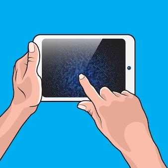 Paire de pc portable à main et tablette tactile blanche