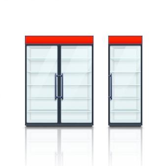 Paire de réfrigérateurs commerciaux avec des tableaux rouges