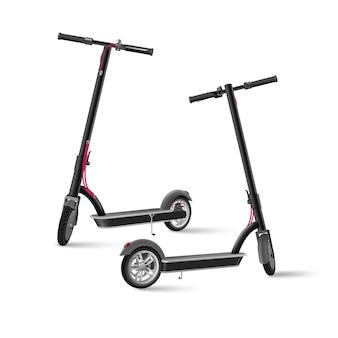 Paire de scooter électrique noir sur fond blanc illustration vectorielle réaliste. vues latérales isolées avant et arrière