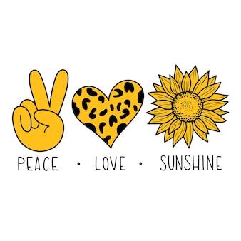 Paix, amour, soleil, vecteur, illustration