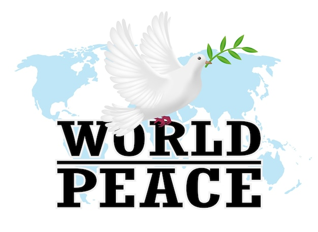 Paix mondiale avec pigeon blanc sur une carte du monde