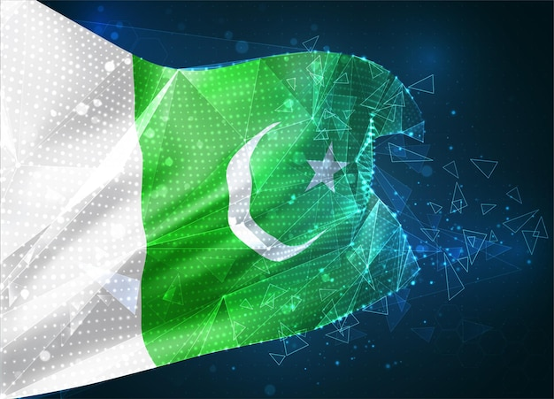 Pakistan, drapeau vectoriel, objet 3d abstrait virtuel à partir de polygones triangulaires sur fond bleu