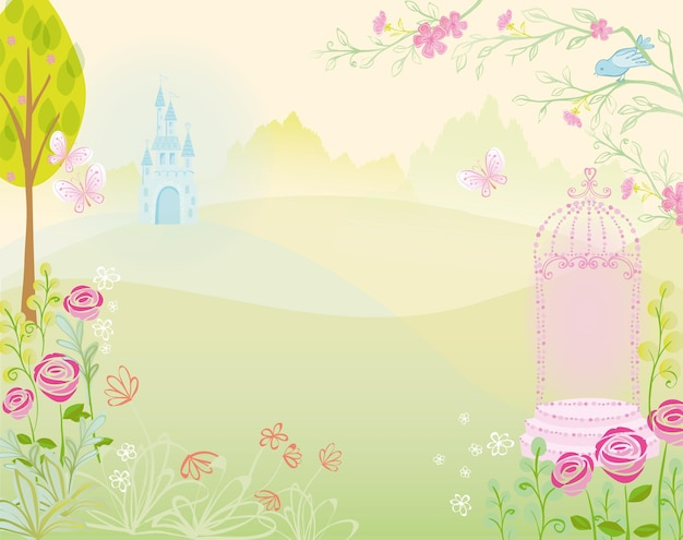 Palais du château avec illustration de paysage de jardin pour la conception de princesse de conte de fées