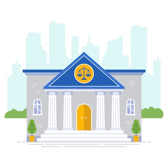Palais de justice avec icône échelles sur un fond de ville. illustration plate