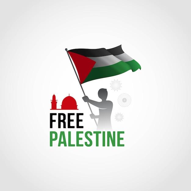 Palestine libre le garçon se tient avec le drapeau
