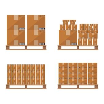 Palette en bois de boîte de carton brun