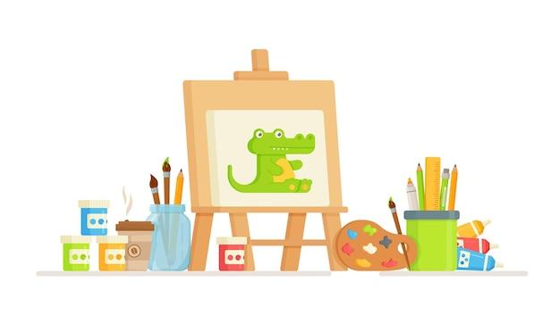 Palette colorée avec des peintures et des pinceaux