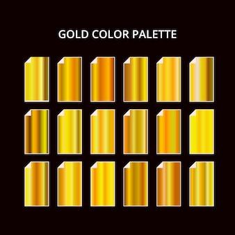 Palette de couleurs en métal doré jaune. texture en acier