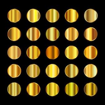 Palette de couleurs en métal or jaune. texture en acier